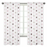 Mini Pink Polka Dot Window Treatment Panels for Pink and Brown Mod Dots Collection - Set of 2