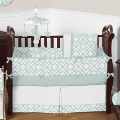 Mint and White Diamond Baby Bedding - 9 pc Crib Set by Sweet Jojo Designs