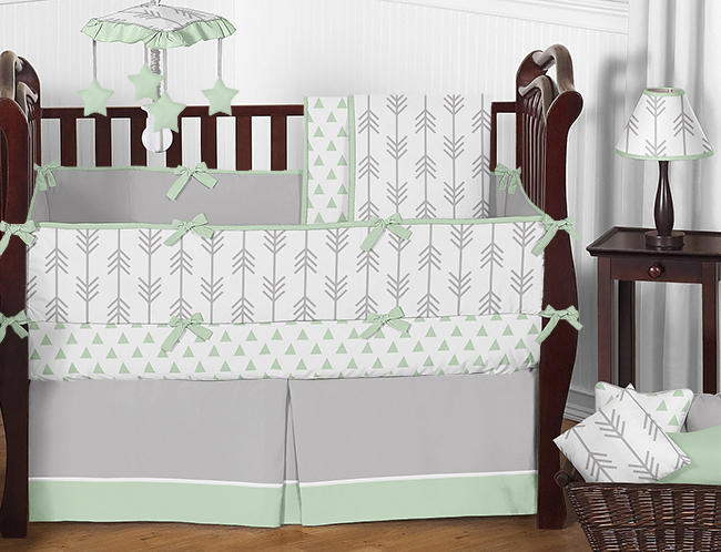 Mint, Grey and White Taylor Arrow Triangle Baby Bedding - 9pc Crib Set by Sweet Jojo Designs