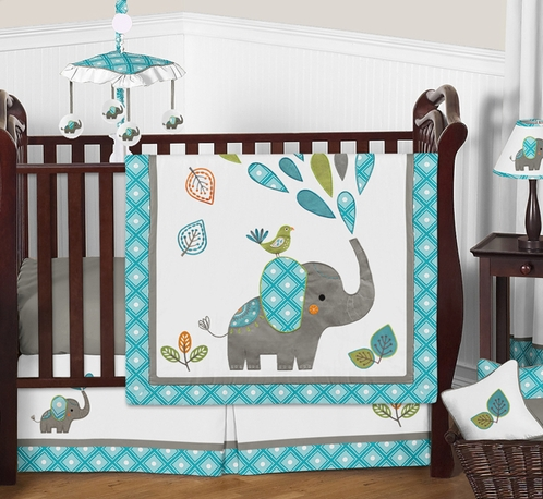 Mod Elephant Baby Bedding - 4pc Boy or Girl Crib Set by ...