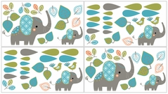 Mod Elephant Baby, Childrens and Kids Wall Decal Stickers by Sweet Jojo Designs - Set of 4 Sheets