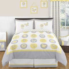 Mod Garden Childrens and Kids Bedding - 3pc Full / Queen Set by Sweet Jojo Designs