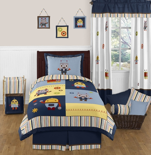 Modern Robot 3pc Full / Queen Bedding Set Collection - Click to enlarge