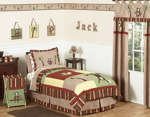 Monkey Kids Bedding - 3pc Boys Full / Queen Set - Click to enlarge