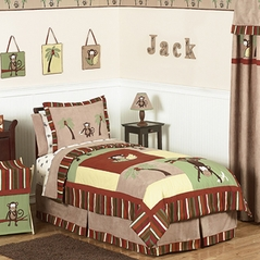 Monkey Kids Bedding - 3pc Boys Full / Queen Set