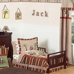 Monkey Kids Bedding - 5pc Boys Toddler Bedding Set