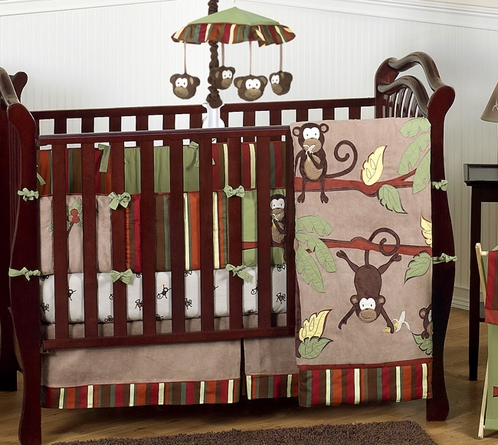 Monkey Baby Bedding - 9pc Boys Crib Set - Click to enlarge