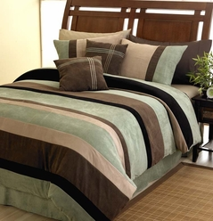Moss, Black, Chocolate and Camel Jacaranda Striped MicroSuede 6-pc Luxury Duvet Cover Bedding Set