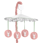 Musical Baby Crib Mobile for Coral, Mint and Grey Woodsy Collection by Sweet Jojo Designs