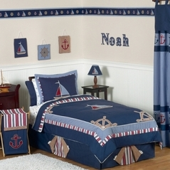 Nautical Nights Boys Sailboat Childrens Bedding - 3pc Full / Queen Set