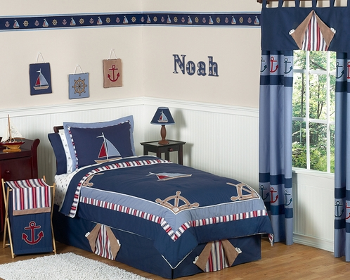 Nautical Nights Boys Sailboat Childrens Bedding - 3pc Full / Queen Set - Click to enlarge