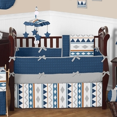 Navy and Gray Aztec Baby Bedding - 9 pc Crib Set by Sweet Jojo Designs