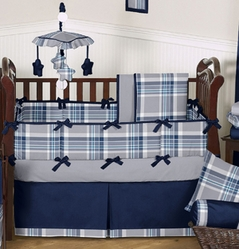 Navy and Gray Plaid Baby Bedding - 9 pc Crib Set by Sweet Jojo Designs