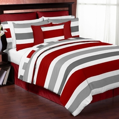 Red and Gray Stripe - 4 pc Twin Set by Sweet Jojo Designs