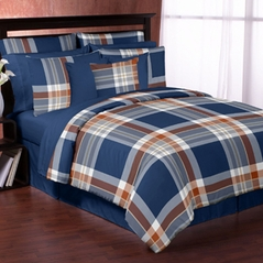 Navy and Orange Plaid - 3pc Full / Queen Set by Sweet Jojo Designs
