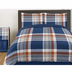 Navy and Orange Plaid - 4 pc Twin Set by Sweet Jojo Designs