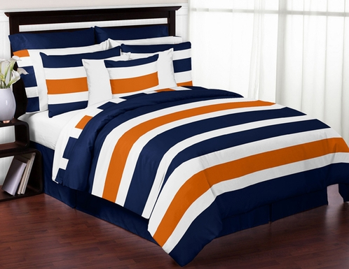 Navy Blue and Orange Stripe 3pc Teen Full / Queen Bedding Set Collection - Click to enlarge