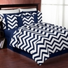 Navy and White Chevron 3pc Bed in a Bag Zig Zag King Bedding Set Collection