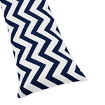 Navy and White Chevron Zig Zag Full Length Double Zippered Body Pillow Case Cover