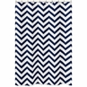 Navy and White Chevron Zig Zag Kids Bathroom Fabric Bath Shower Curtain