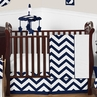 Navy and White Chevron ZigZag Baby Bedding - 11pc Crib Set by Sweet Jojo Designs