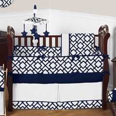 Navy and White Diamond Baby Bedding - 9 pc Crib Set by Sweet Jojo Designs