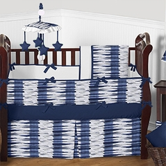 Navy and White Metro Baby Bedding - 9pc Crib Set by Sweet Jojo Designs