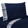 Navy Blue 3 pc Twin Sheet Set for Plaid Boys Bedding Collection
