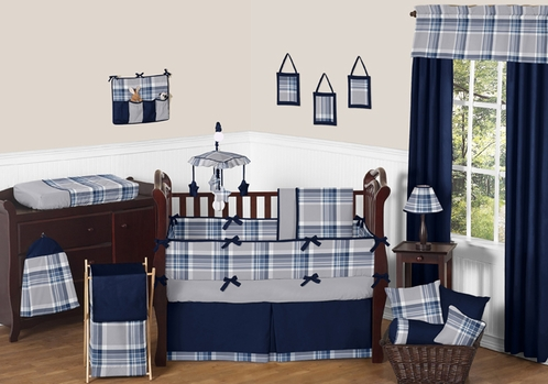 Navy Blue And Grey Plaid Boys Baby Bedding 9pc Crib Set