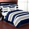 Navy Blue and Gray Stripe 3pc Teen Full / Queen Bedding Set