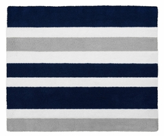 Navy Blue and Gray Stripe Accent Floor Rug by Sweet Jojo Designs