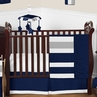 Navy Blue and Gray Stripe Baby Bedding - 11pc Crib Set by Sweet Jojo Designs