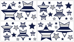 Navy Blue and Gray Stripe, Childrens and Teens Wall Decal Stickers - Set of 4 Sheets