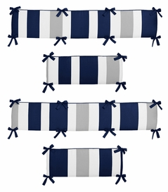 Navy Blue and Gray Stripe Collection Crib Bumper by Sweet Jojo Designs