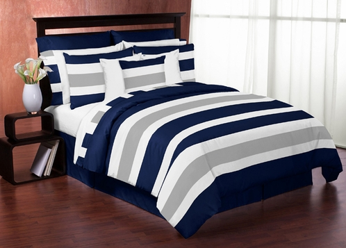 Navy Blue and Gray Stripe 4pc Teen Twin Bedding Set Collection - Click to enlarge