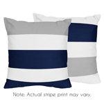 Navy Blue and Gray Stripe Decorative Accent Throw Pillows - Set of 2