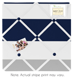 Navy Blue and Gray Stripe Fabric Memory/Memo Photo Bulletin Board