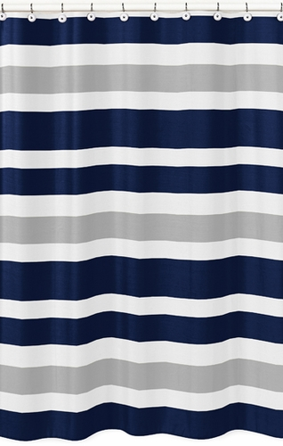 Navy Blue And Gray Stripe Kids Bathroom Fabric Bath Shower Curtain Only