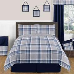 Navy Blue and Grey Plaid 3pc Boys Teen Full / Queen Bedding Set Collection by Sweet Jojo Designs