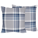 Navy Blue and Grey Plaid Boys Decorative Accent Throw Pillows - Set of 2