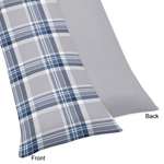 Navy Blue and Grey Plaid Boys Full Length Double Zippered Body Pillow Case Cover