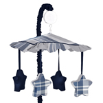 Navy Blue and Grey Plaid Boys Musical Baby Crib Mobile by Sweet Jojo Designs