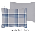 Navy Blue and Grey Plaid Boys Pillow Sham by Sweet Jojo Designs