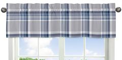 Navy Blue and Grey Plaid Collection Window Valance