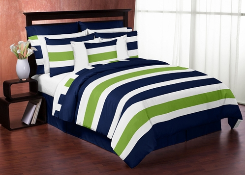 Pics photos navy blue and white striped comforter - Navy blue and green bedding ...