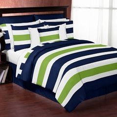 Navy Blue and Lime Green Stripe 4pc Twin Teen Bedding Set Collection