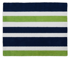 Navy Blue and Lime Green Stripe Accent Floor Rug by Sweet Jojo Designs