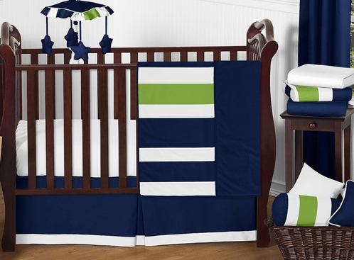 Navy blue and lime green stripe baby bedding 11pc crib - Navy blue and green bedding ...
