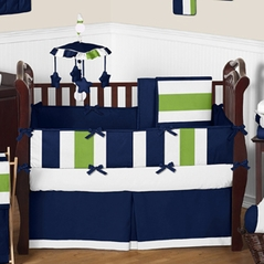 Navy Blue and Lime Green Stripe Baby Bedding - 9pc Crib Set by Sweet Jojo Designs