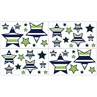 Navy Blue and Lime Green Stripe Childrens and Teens Wall Decal Stickers - Set of 4 Sheets